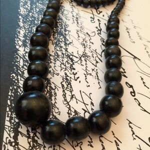 Accessories - Black wood boho earthy necklace